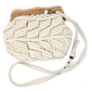 Vintage 1970s Macrame Cream Shoulder Bag Boho